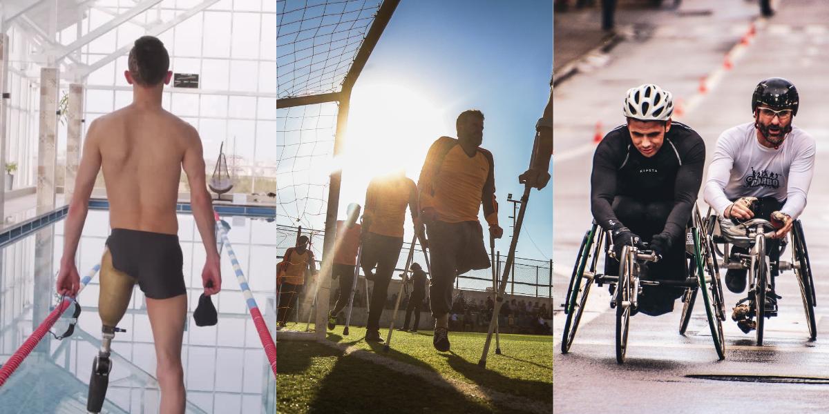 On parle de sport. Trois images. À gauche, un homme en maillot de dos, face à une piscine, avec une prothèse à la jambe gauche. Au centre, un groupe d'hommes en maillot jaune sur un terrain de soccer, en béquilles. À droite, deux hommes en fauteuil de course.